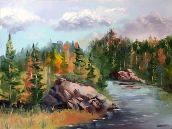 """""""Forest River Landscape Oil Painting by Artist Mark Webster"""" original fine art by Mark Webster"""