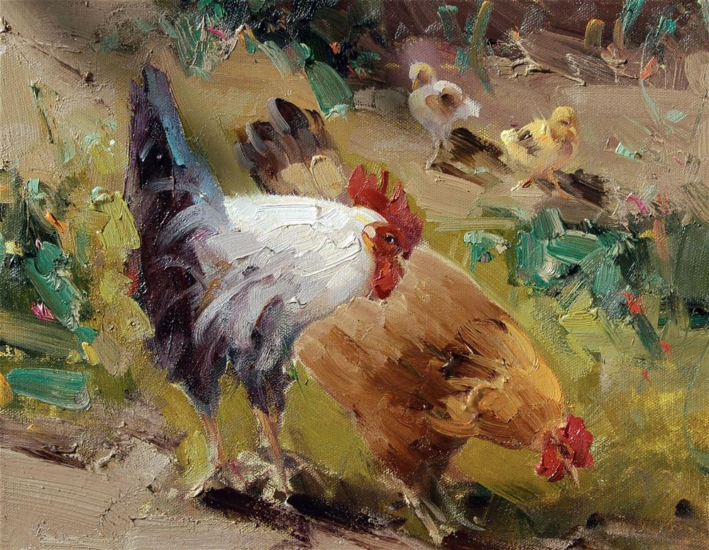 """chickens family"" original fine art by Mostafa Keyhani"