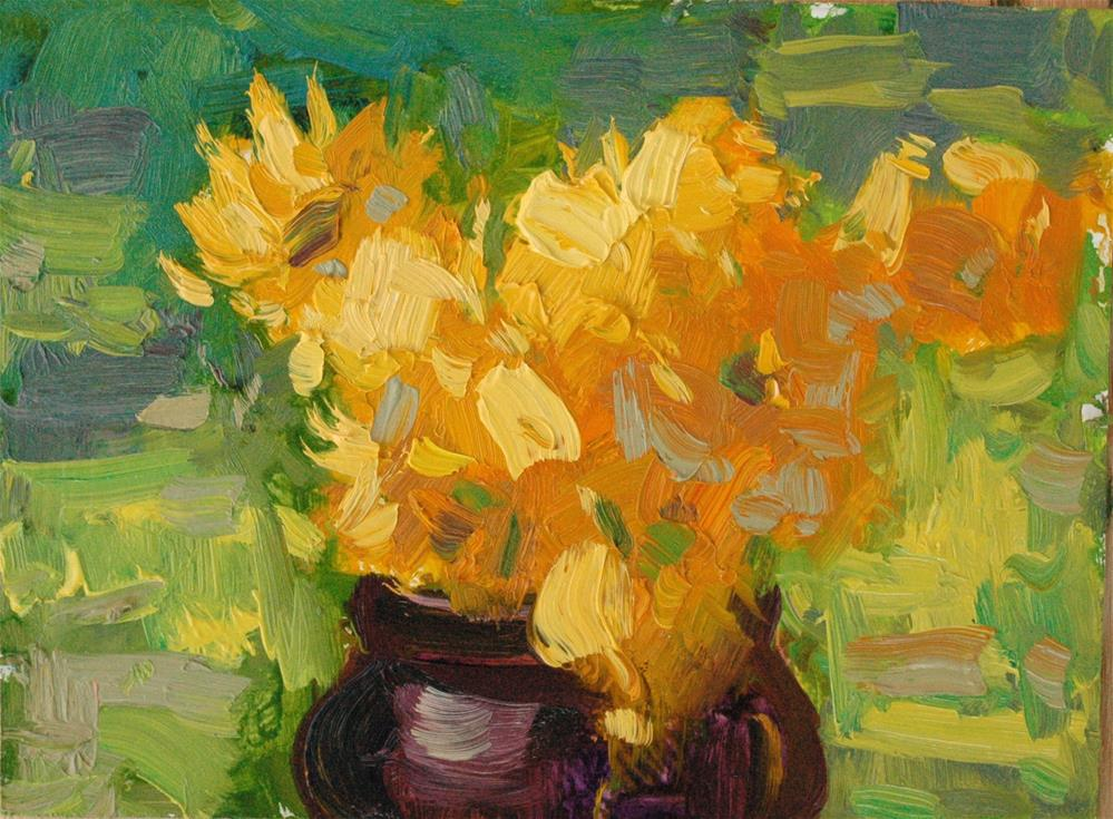 """Yellow Flowers"" original fine art by Michael Clark"