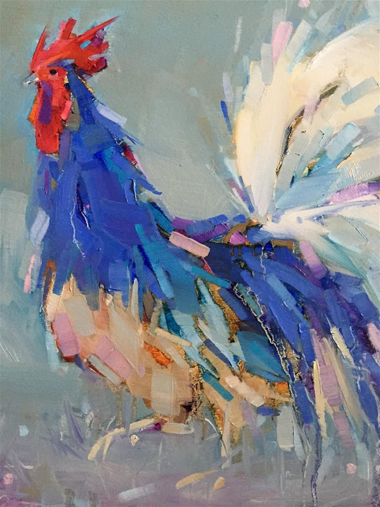"""Blue Rooster"" original fine art by Kathleen Broaderick"