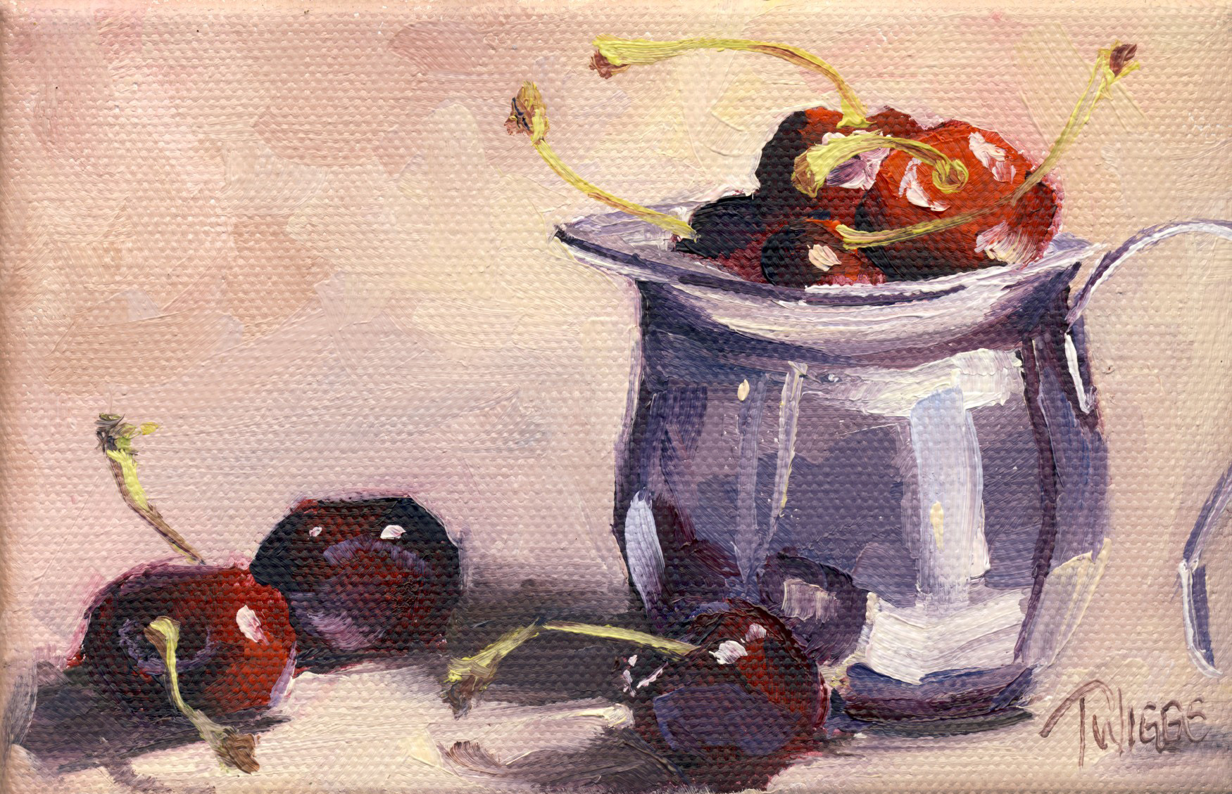 """Cherries 6"" original fine art by Lori Twiggs"
