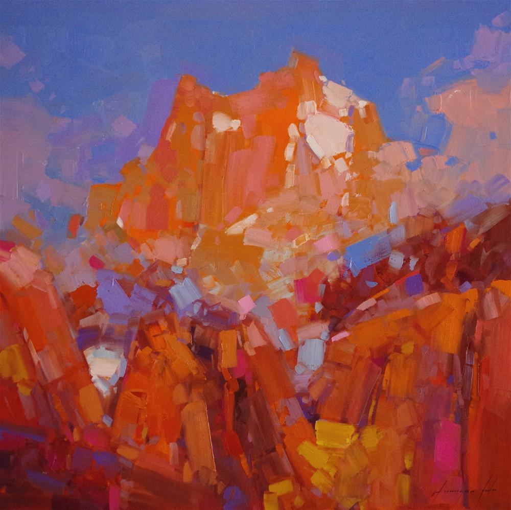 """Mont Blanc-France, Original oil Painting, Impressionism, one of a kind"" original fine art by V Yeremyan"