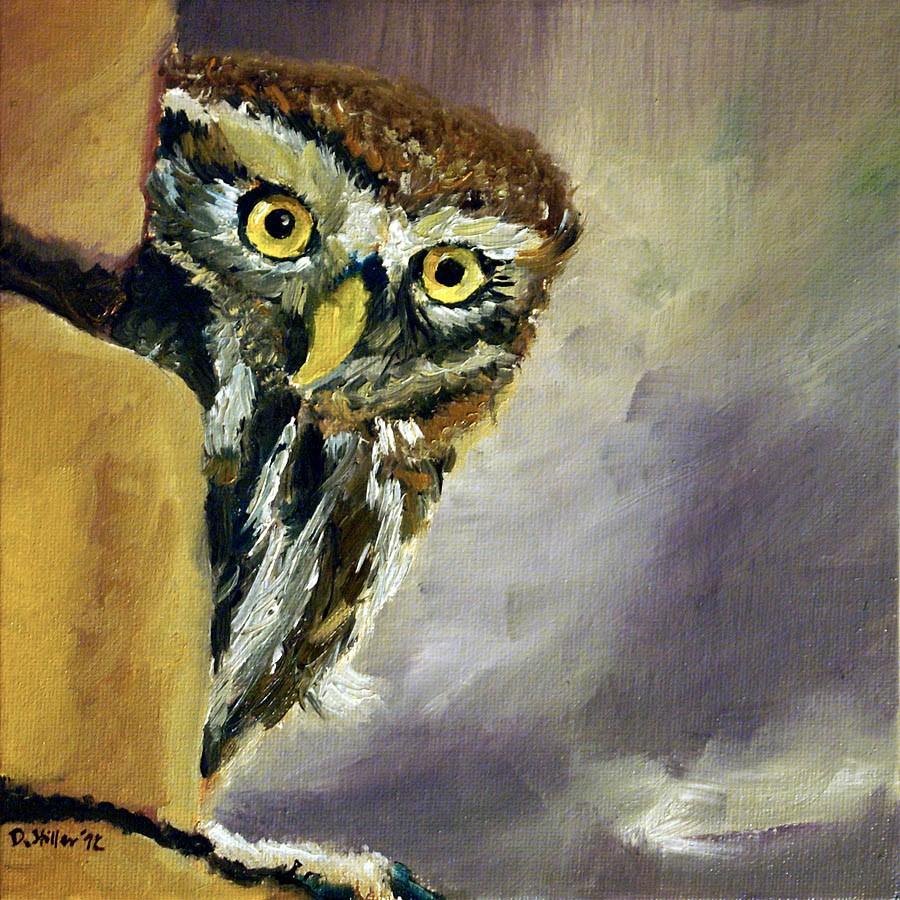 """""""0505 Happy New Owl -Frohe NEule"""" original fine art by Dietmar Stiller"""