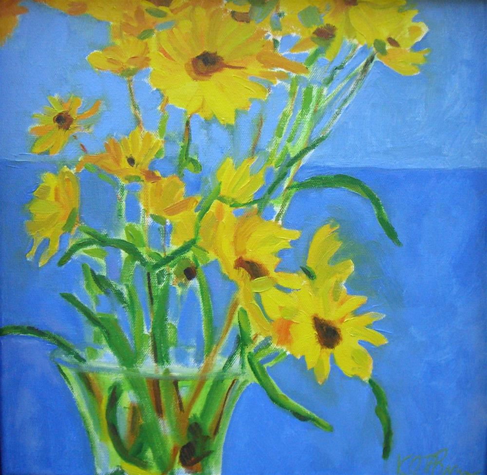 """Yellow Flowers"" original fine art by Kathy Broyles"