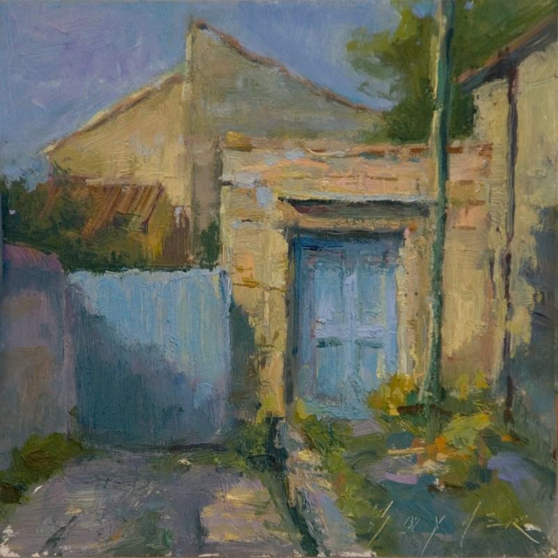"""""""La Porte Bleue Enroute, Villeneuve les Avignon"""" original fine art by Julie Snyder"""