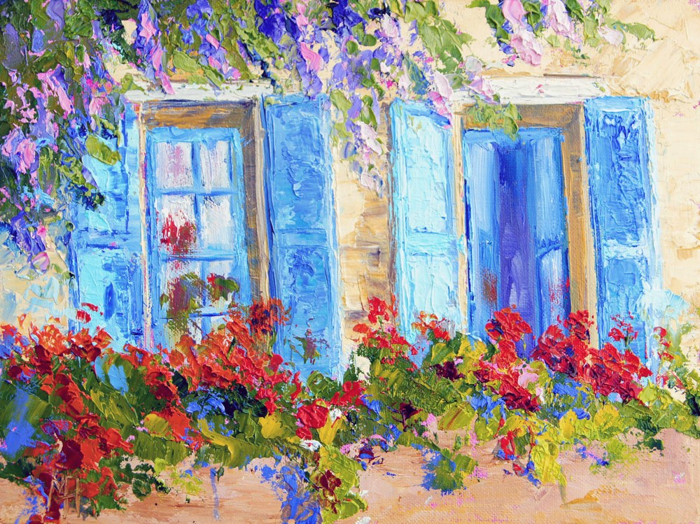 """Geranium Balcony with Blue Shutters"" original fine art by Marion Hedger"
