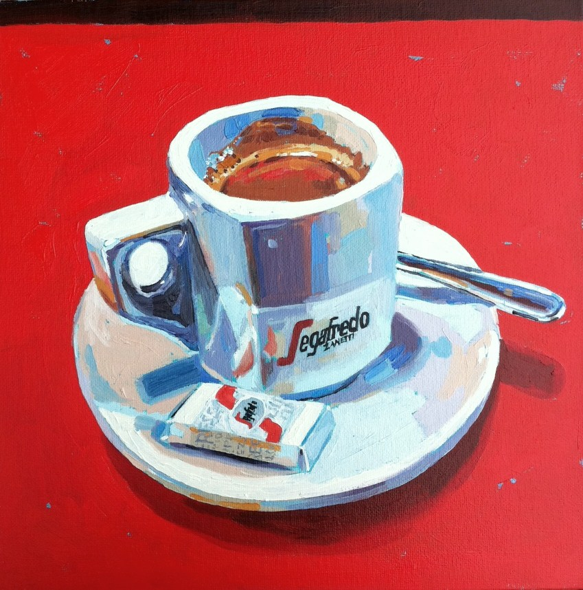 """Un cafe Segafredo"" original fine art by Haidee-Jo Summers"