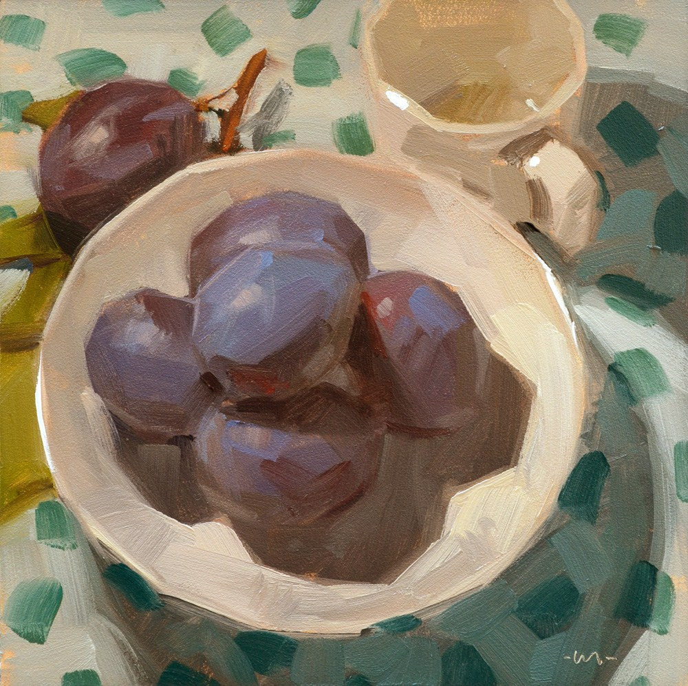 """Plate of Plums"" original fine art by Carol Marine"