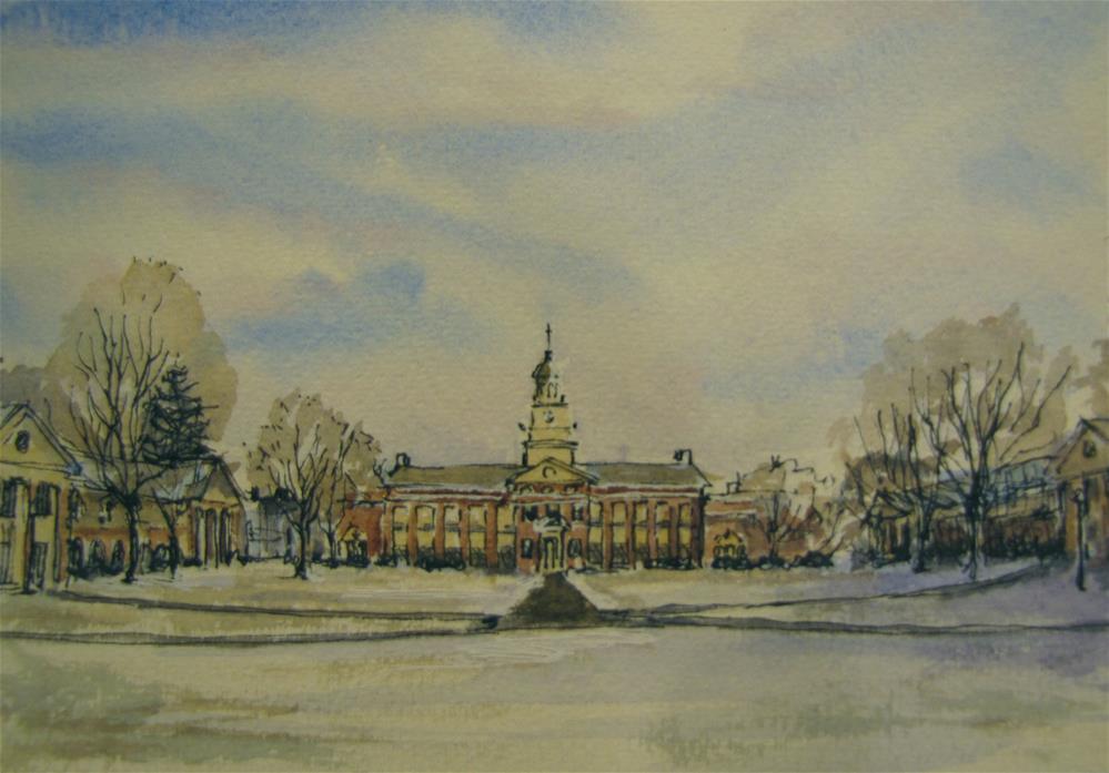"""Bucknell Quad in March"" original fine art by Jane Albin"