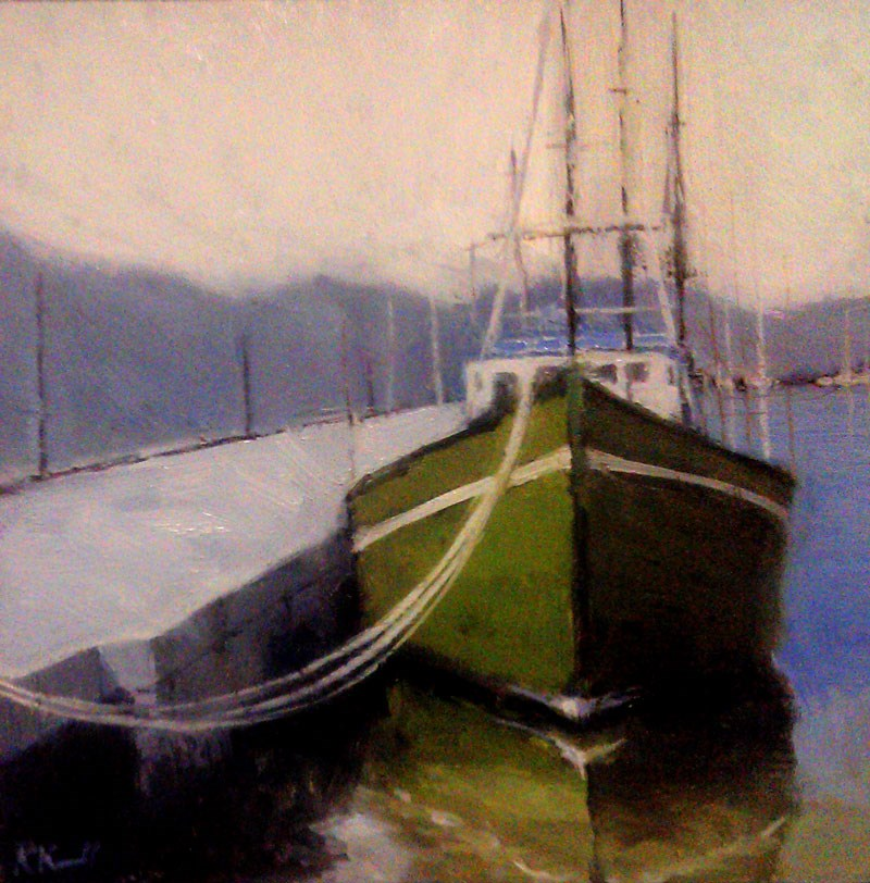"""A Green Boat at the Dock"" original fine art by Bob Kimball"
