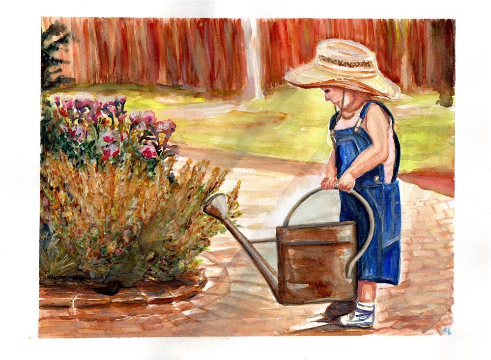"""Sunny Day Gardening"" original fine art by Laura Denning"