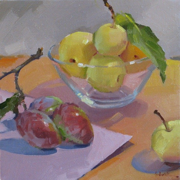 """Plums and Asian Pears fruit food art still life oil daily painting and color palette"" original fine art by Sarah Sedwick"