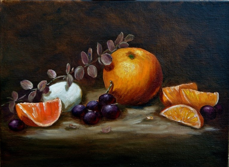 """Orange and Egg"" original fine art by Mary Datum"