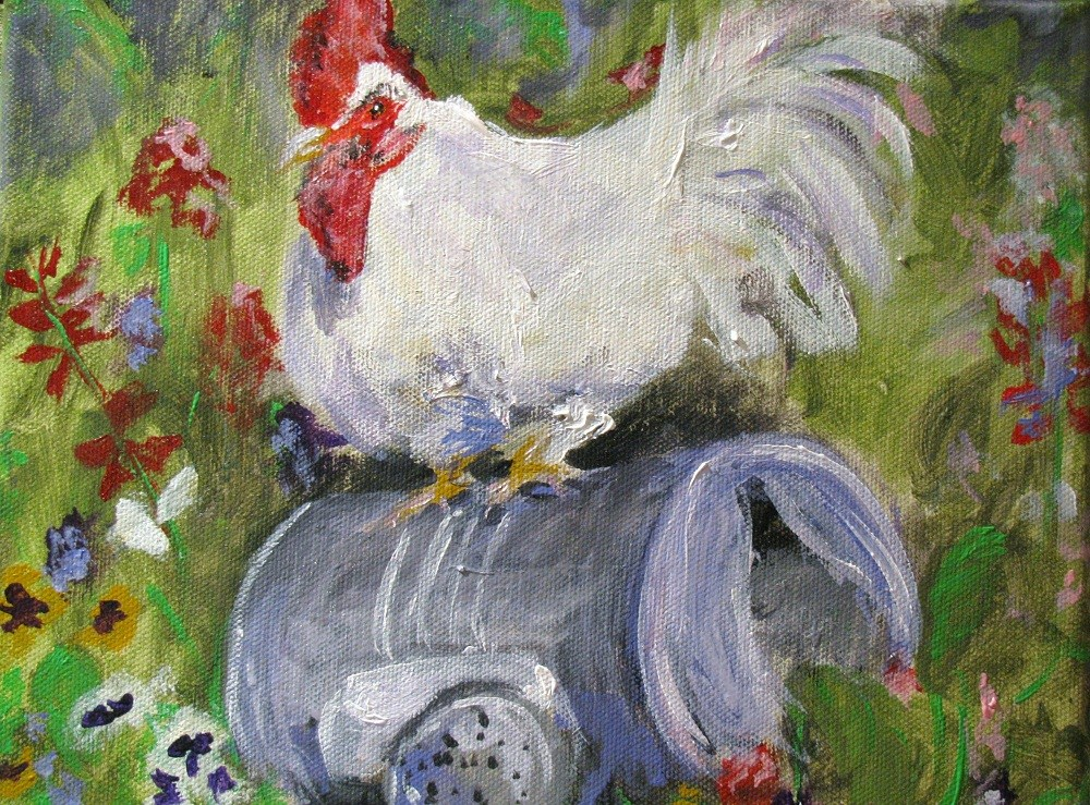"""Keepin' Chickens"" original fine art by Susan Elizabeth Jones"