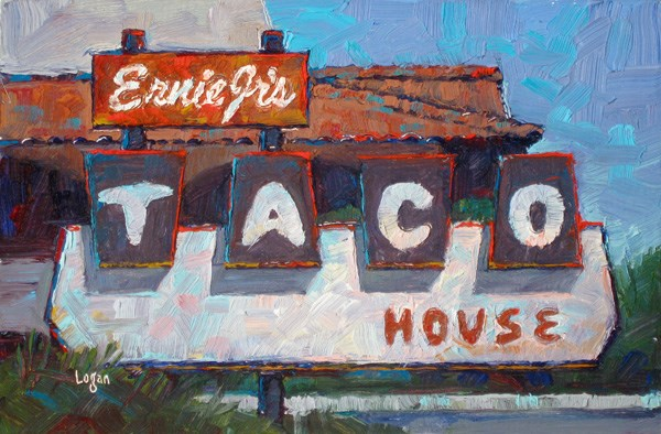 """Ernie Jr's Taco House Sign"" original fine art by Raymond Logan"