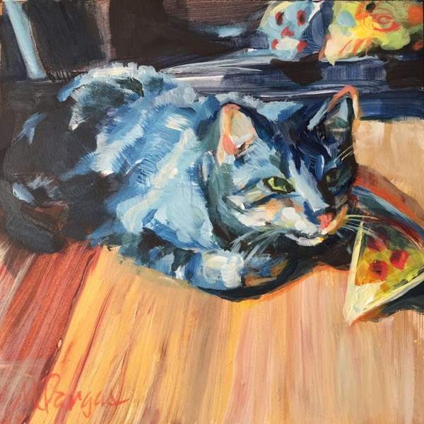"""""""Paco Plays with Pizza"""" original fine art by Mary Pargas"""