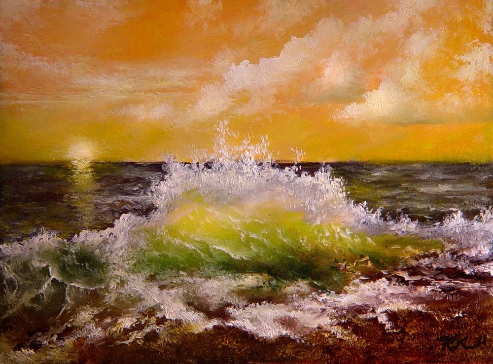 """Crashing Wave on a Gravel Shore"" original fine art by Bob Kimball"