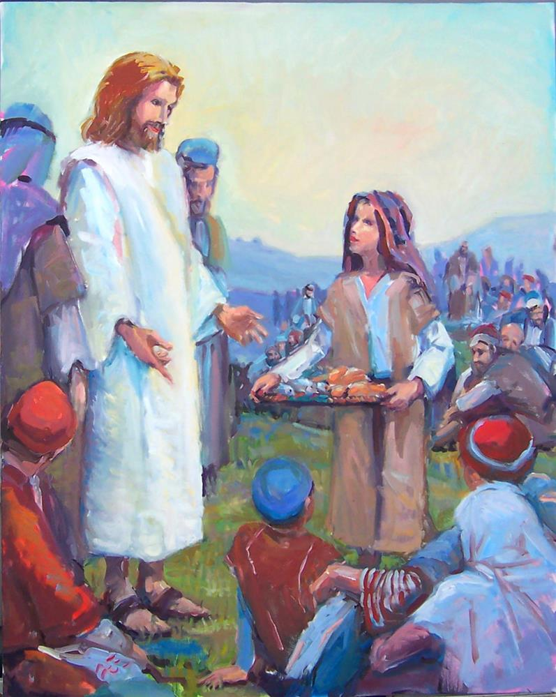 """Jesus feeling the Multitudes,figures,oil on canvas,5'x4',priceNFS"" original fine art by Joy Olney"