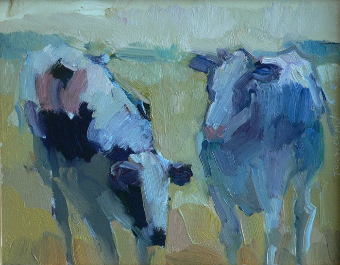 """Bessie and Moo - SOLD"" original fine art by Kathryn Townsend"