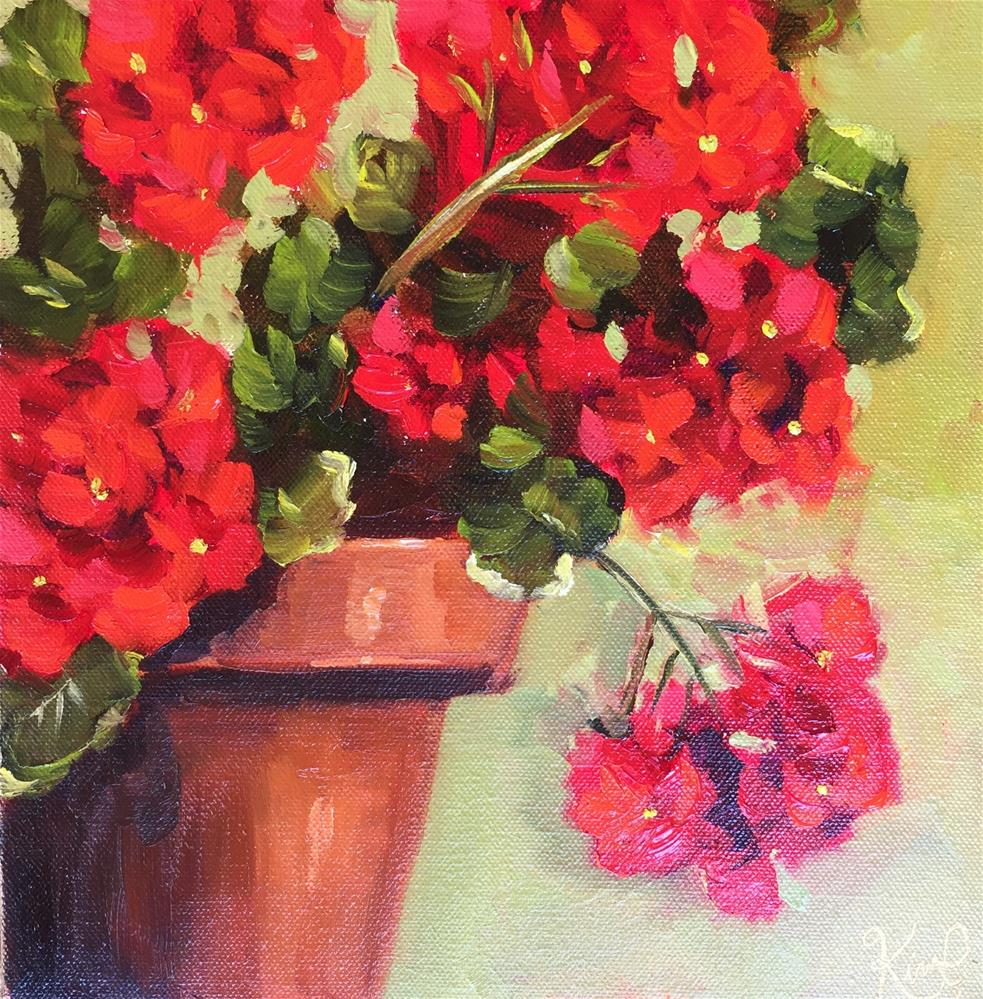 """Red Geraniums in Terracotta Pot"" original fine art by Kim Peterson"