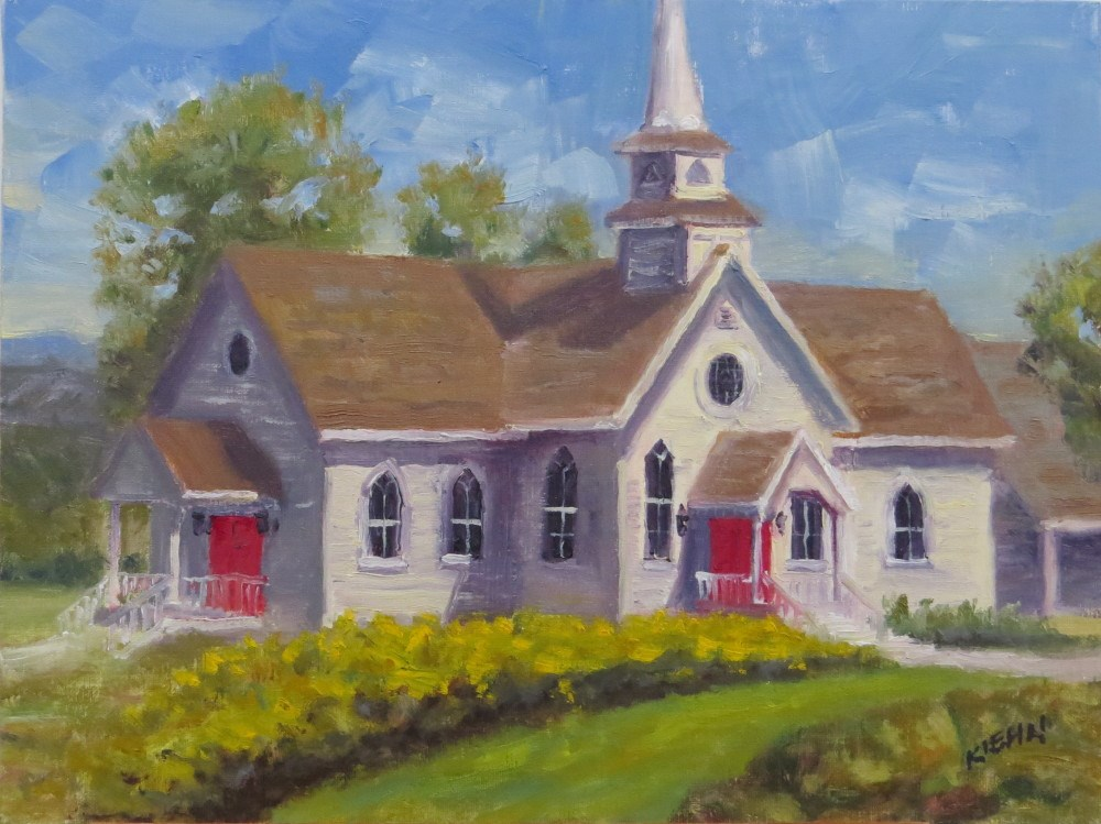 """Small Church with Red Doors"" original fine art by Richard Kiehn"