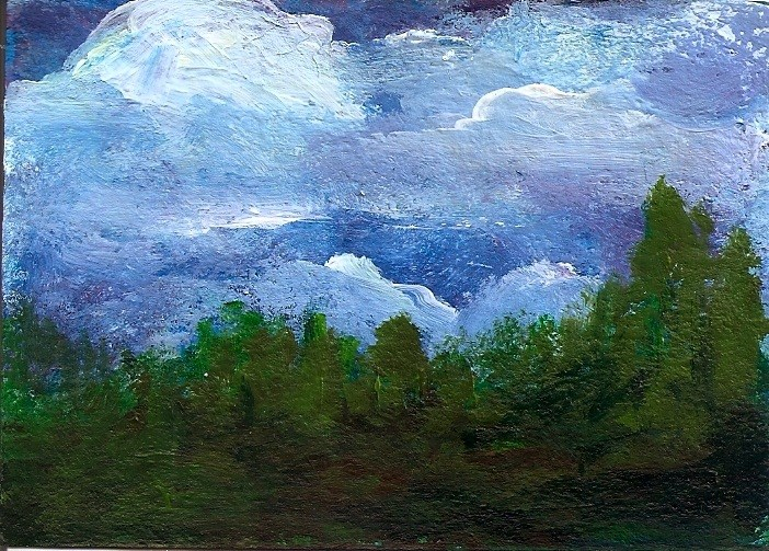 """ACEO Storm Clouds Forest Rain Coming Acrylic Landscape Penny StewArt"" original fine art by Penny Lee StewArt"