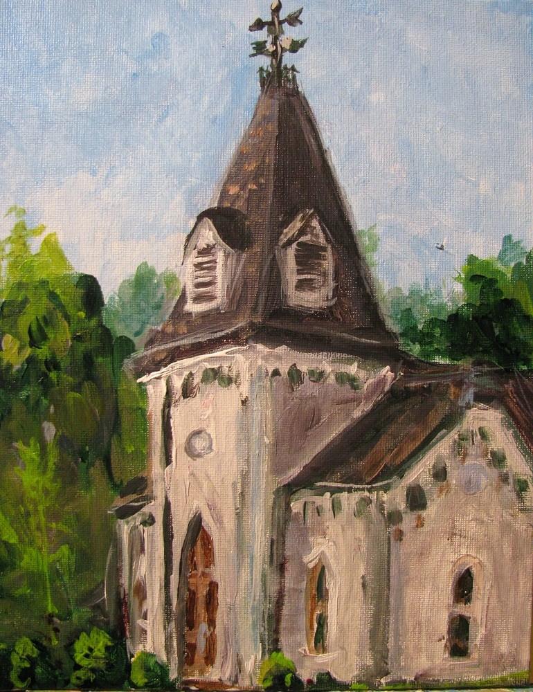 """Polk Presidential Hall"" original fine art by Susan Elizabeth Jones"