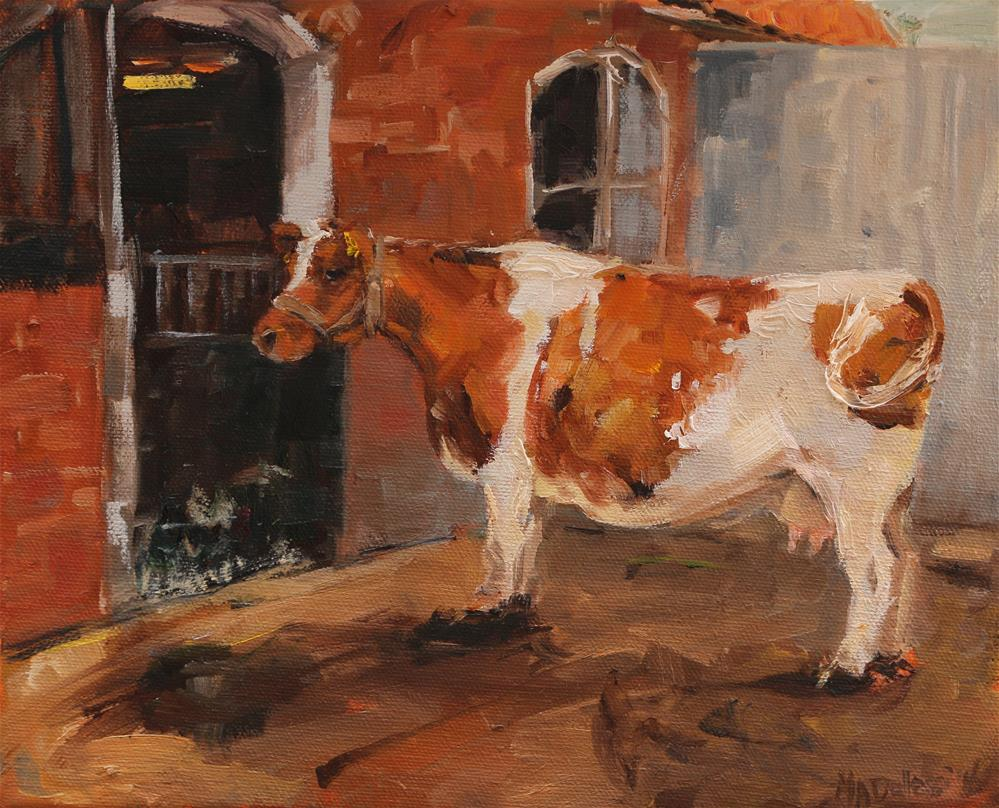 """Cow at the petting zoo"" original fine art by Miranda Dalessi"