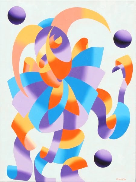 """Mark Webster - The Juggling Court Jester - Abstract Geometric Futurism Oil Painting"" original fine art by Mark Webster"