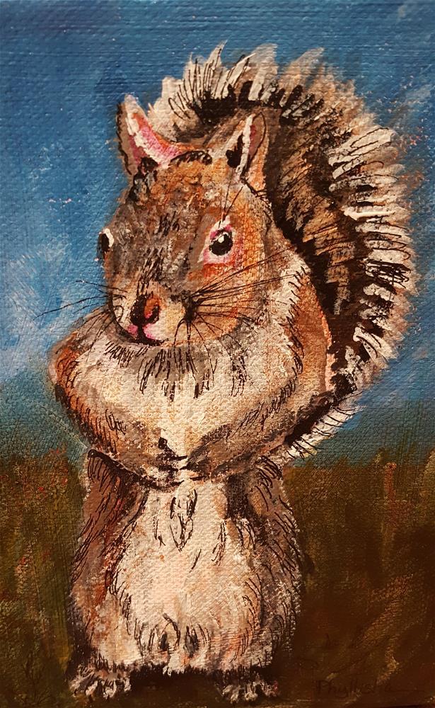 """Just a Little Squirrel"" original fine art by Phyllisha Hamrick"