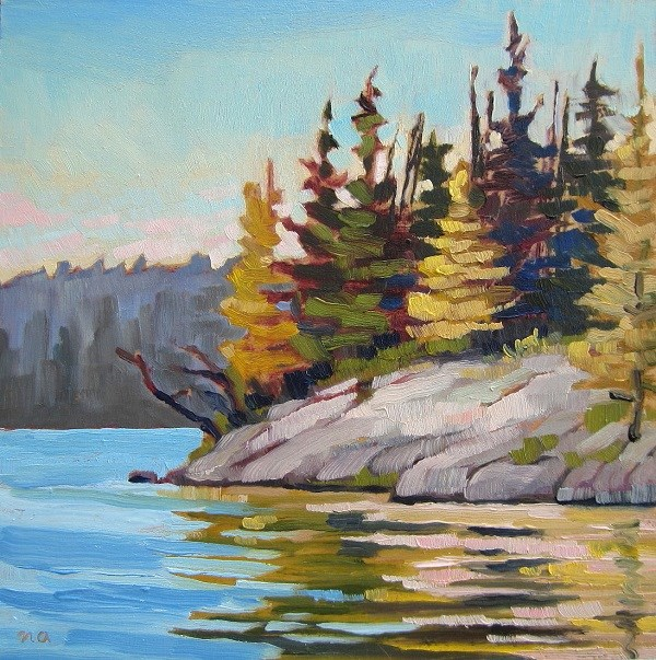 """Rocky Point, Lynx Lake"" original fine art by Nicki Ault"