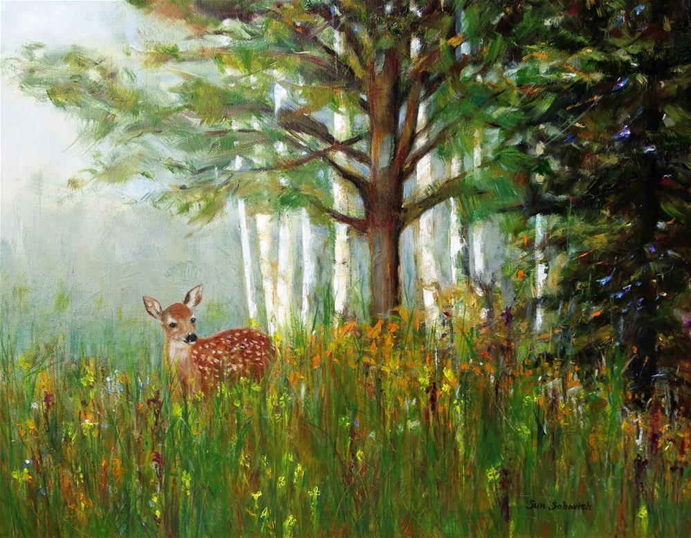 """Deer in the woods"" original fine art by Sun Sohovich"