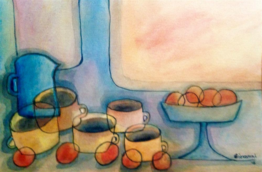 """Coffee and peaches"" original fine art by Giovanni Antunez"