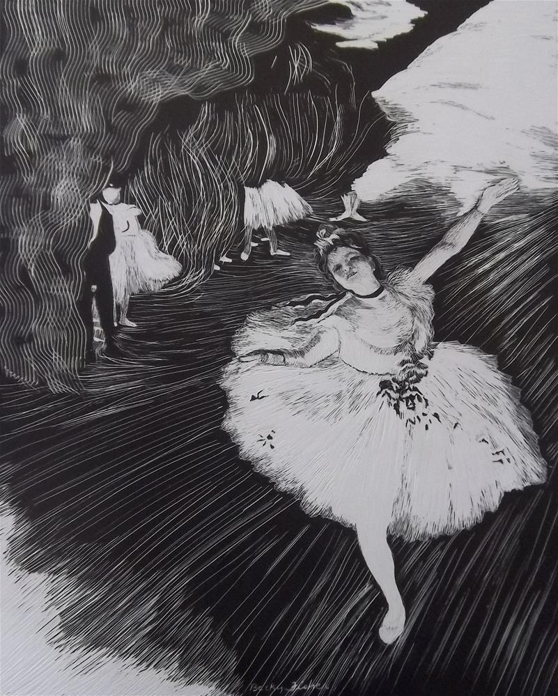 """""""Degas' L'Etoile in Scratchboard"""" original fine art by Becky Chappell"""