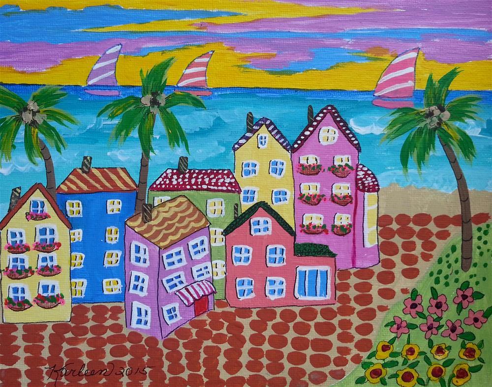 """Beach Town USA"" original fine art by Karleen Kareem"