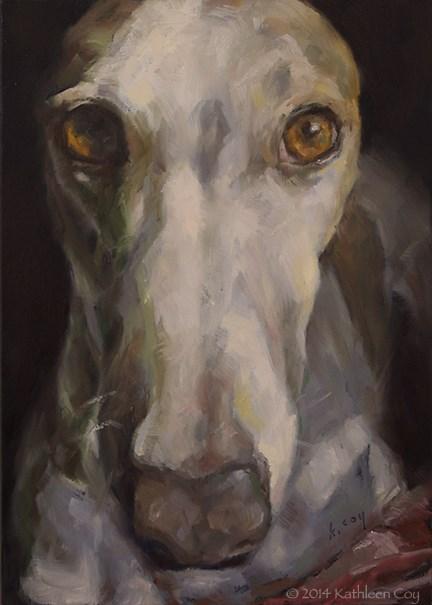 """""""Day 15 - Greyhound"""" original fine art by Kathleen Coy"""
