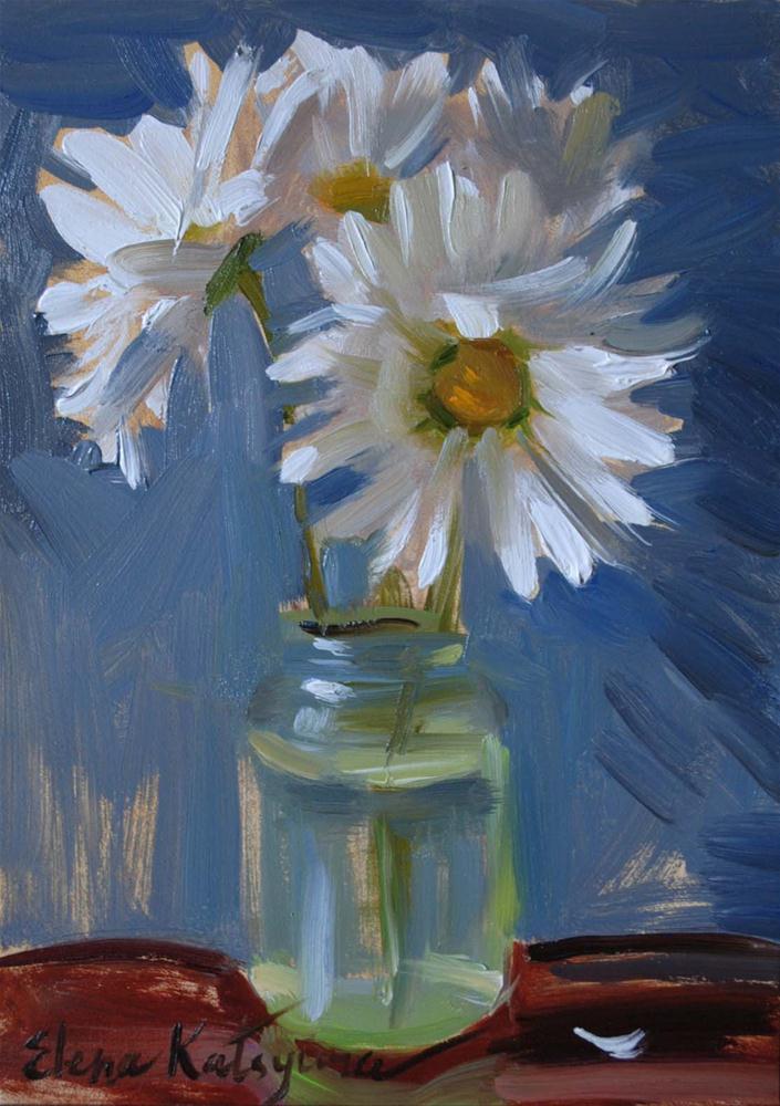 """Daisies on Blue"" original fine art by Elena Katsyura"