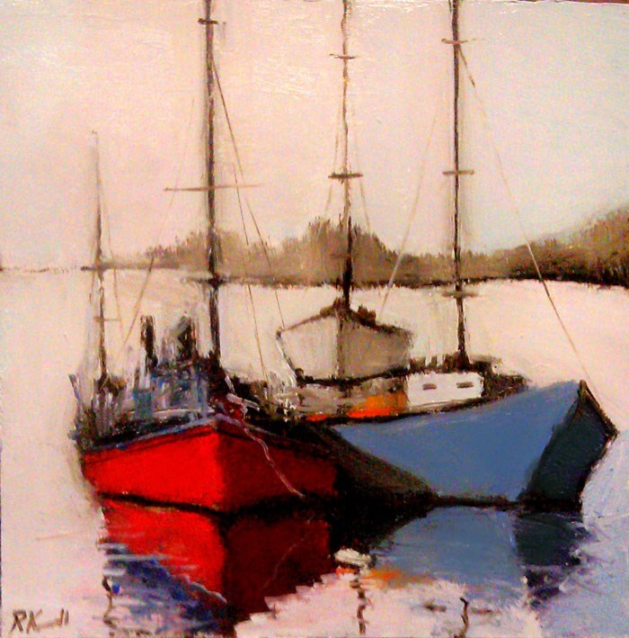 """Boats in the Harbor"" original fine art by Bob Kimball"