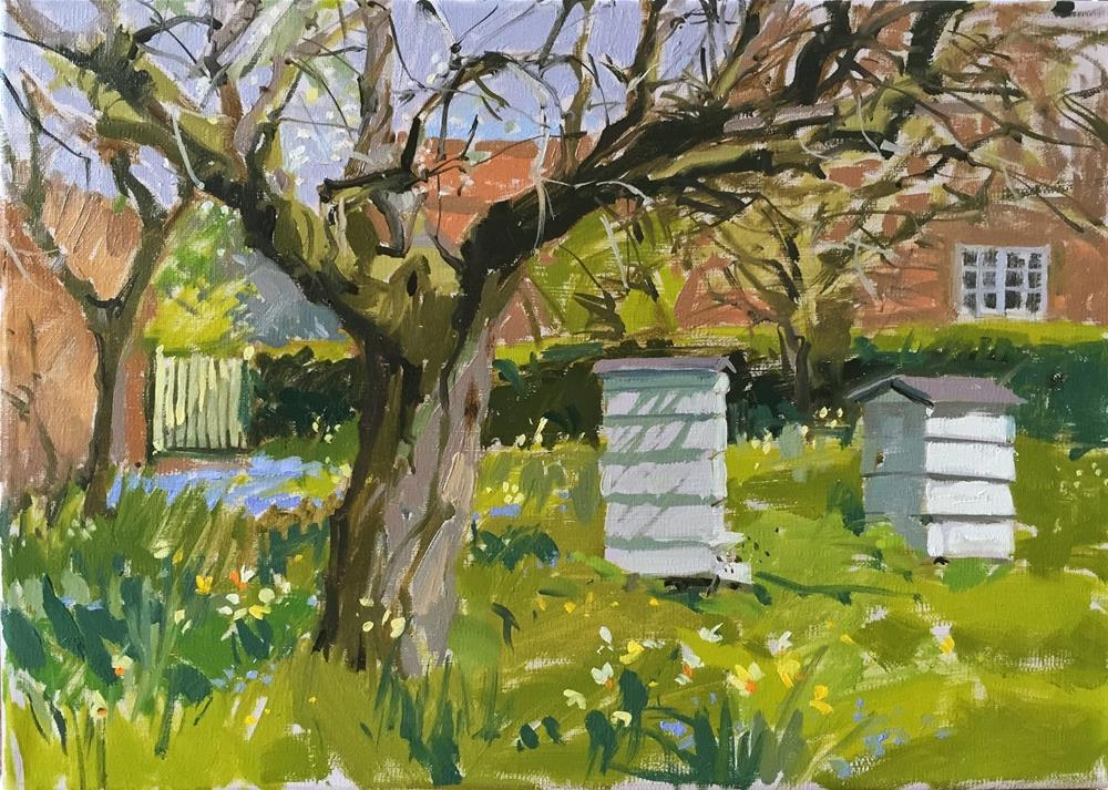 """Bees in the orchard"" original fine art by Haidee-Jo Summers ROI"