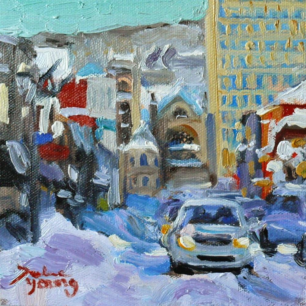 """804 Montreal Winter Crescent, 6x6, oil"" original fine art by Darlene Young"