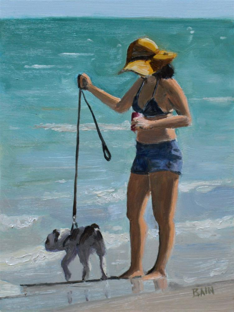 """Short Leash"" original fine art by Peter Bain"