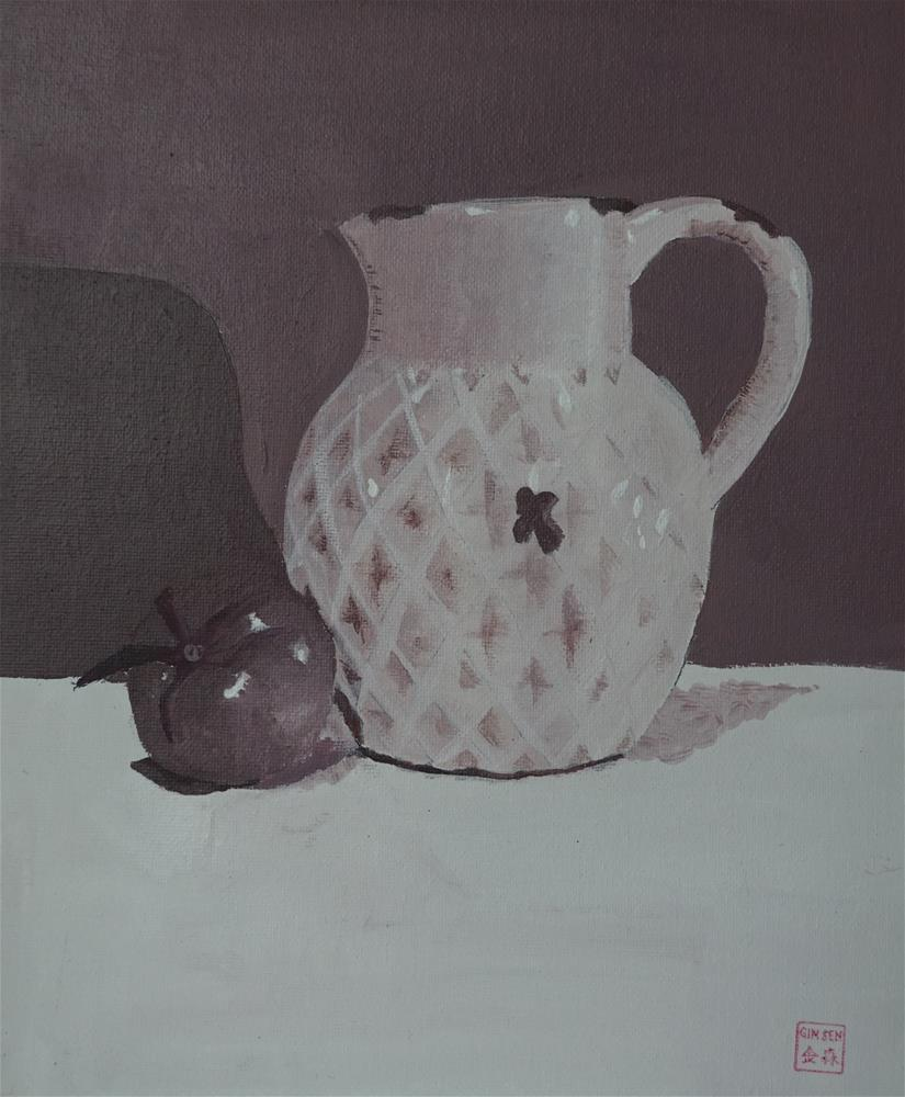"""""""Jug and tomato in purple study"""" original fine art by Gin Sen"""