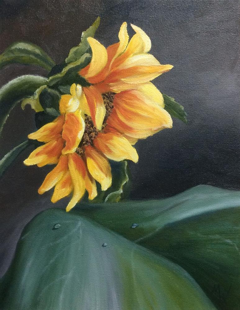 """""""Sunflower at Night"""" original fine art by Michelle Wolfe"""