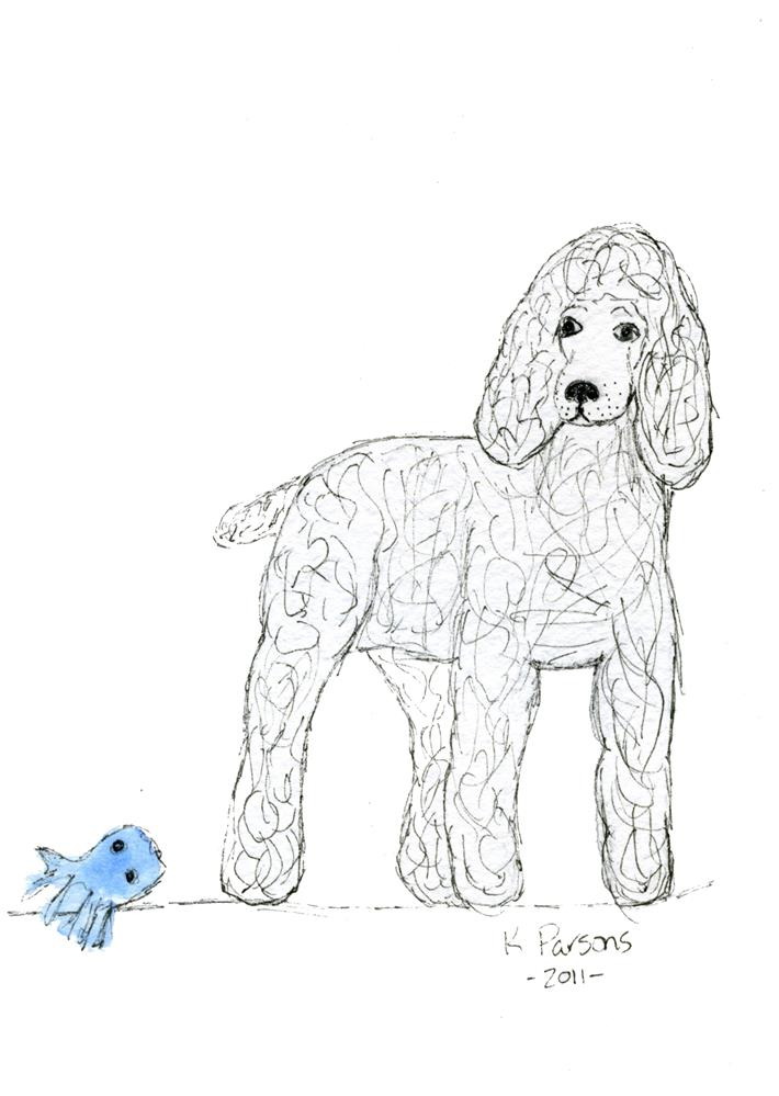 """A Poodle and Her Pet"" original fine art by Kali Parsons"