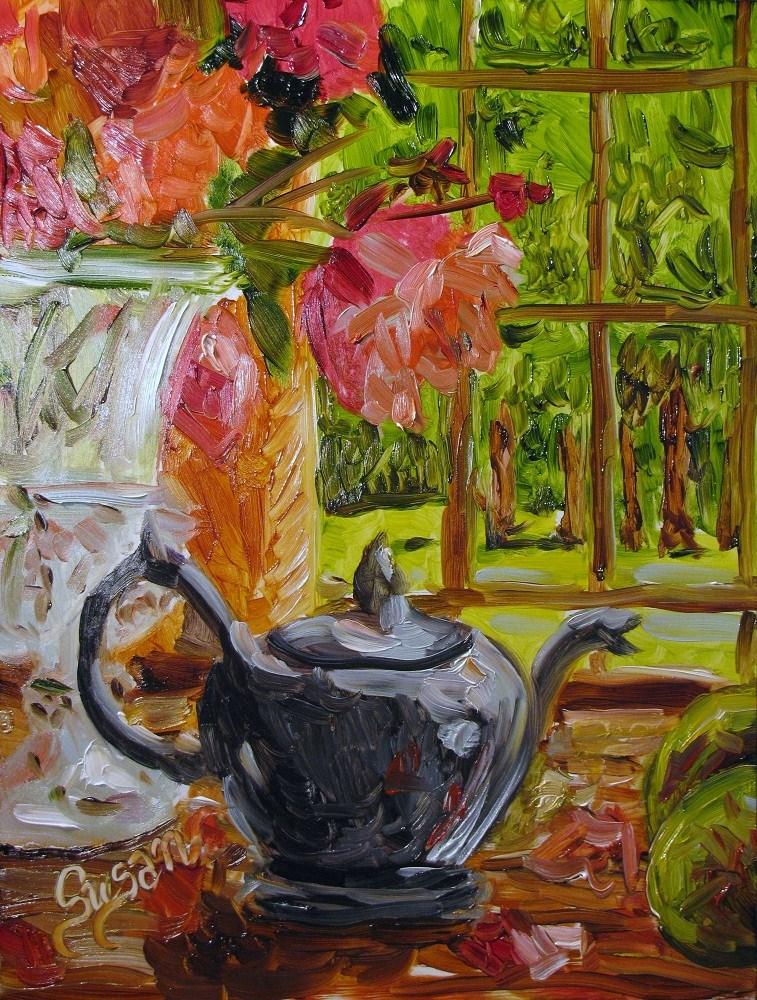 Tea Time original fine art by Susan E Jones