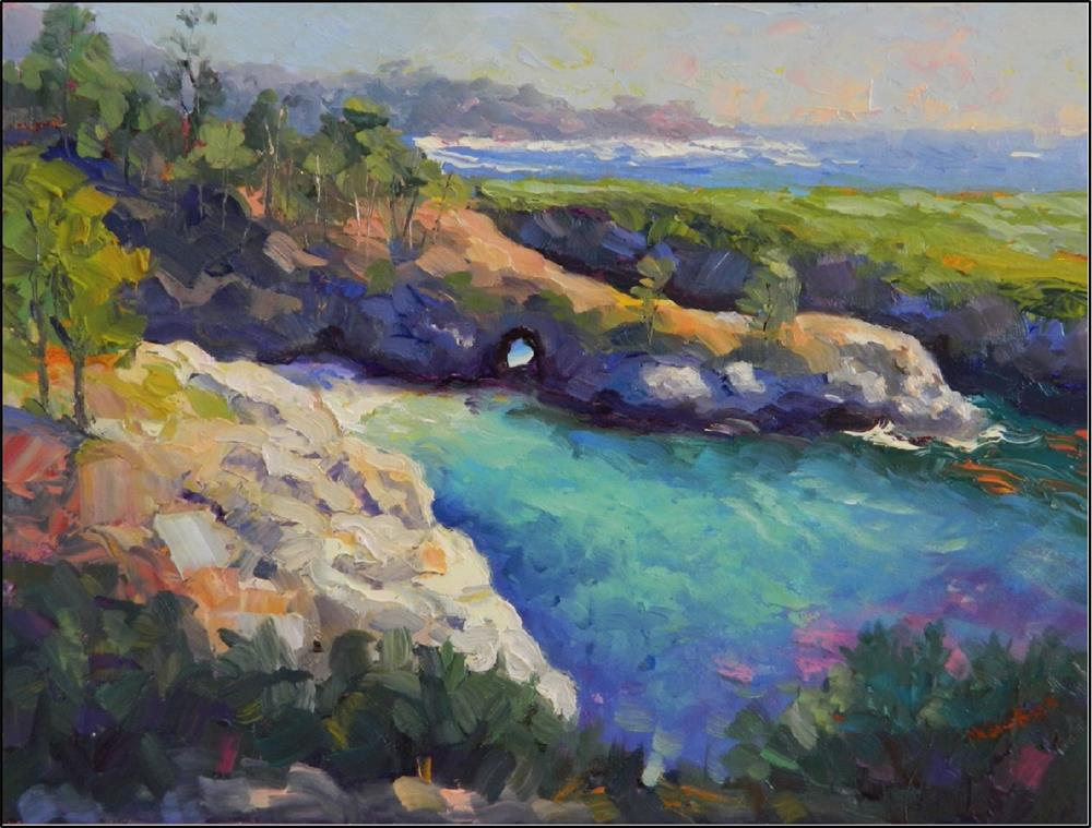 """China Cove Springtime, 12x16, oil on panel, paintings of California caost, Big Sur, Point Lobos, C"" original fine art by Maryanne Jacobsen"
