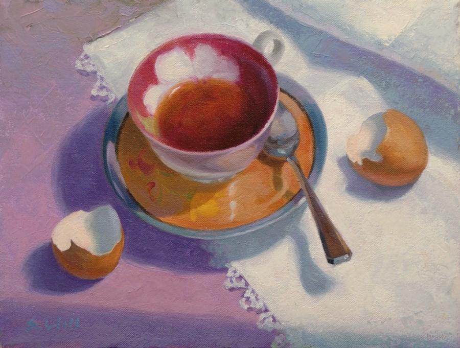 """Breakfast Tea 9x12"" original fine art by Sharon Will"