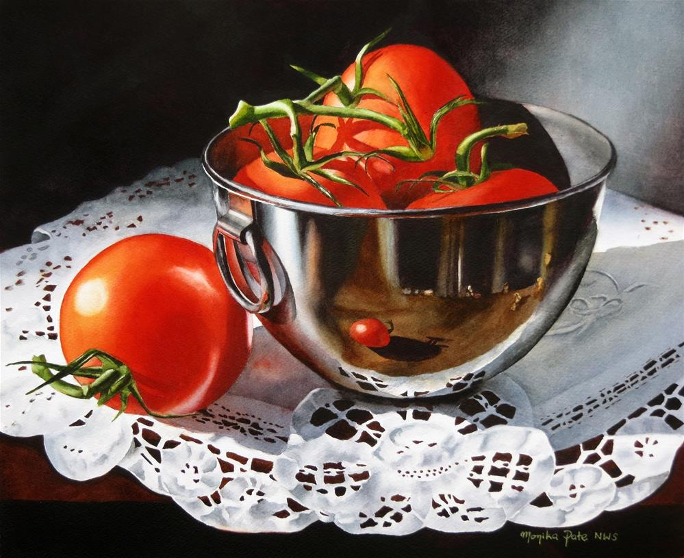"""Four Tomatoes and a Bowl"" original fine art by Monika Pate"