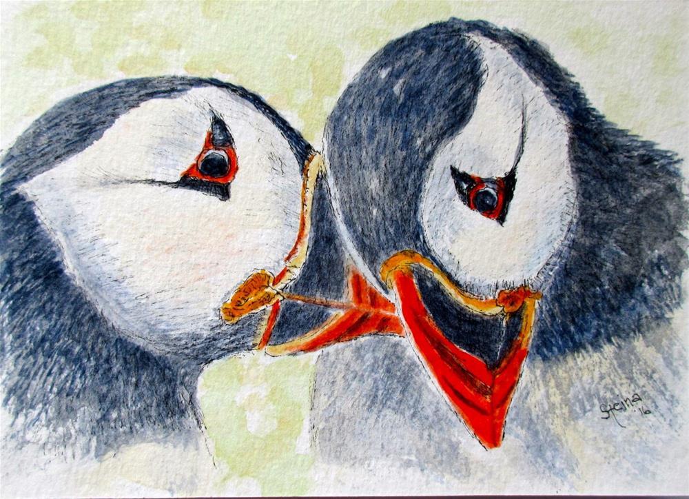 """""""Puffins in love"""" original fine art by Steinunn Einarsdottir"""