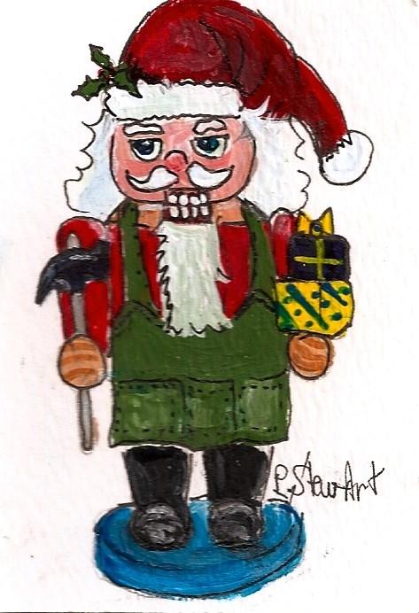 """ACEO Nutcracker Painting Santa Claus Hammer Toys Art Original Penny StewArt"" original fine art by Penny Lee StewArt"
